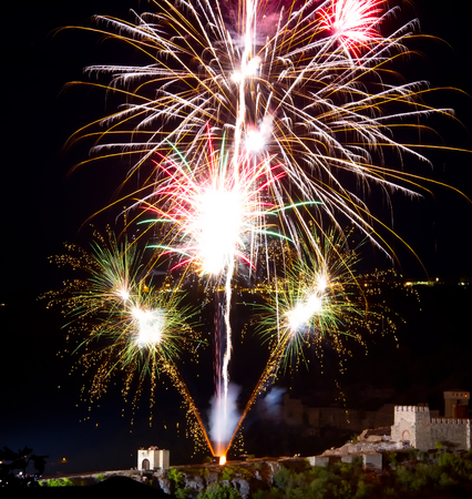 antastic colorful fireworks with black copyspace photo