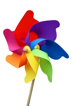 Colorful pinwheel isolated on white with clipping path photo