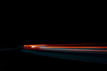 acceleration speed motion on night road 版權商用圖片