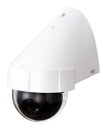 nightvision: Day & Night Color IP surveillance camera isolated on white background with clipping path. Stock Photo