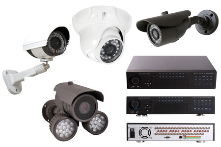 Digital Video Recorder end security camera isolated on white Stock Photo