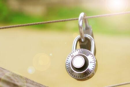 Locks on the bridge fence for locking a love