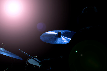 cymbal: Drum set with focus on hi-hat cymbal Stock Photo