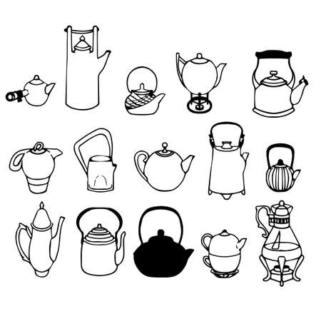 teapots: a collection of 15 different teapots