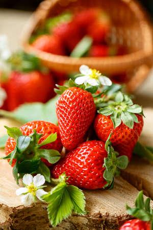 Ripe fresh strawberries background  Stock Photo