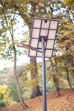 solar powered street light in park Stock Photo