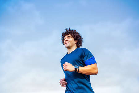 Fitness athlete runner man running. healthy lifestyle,