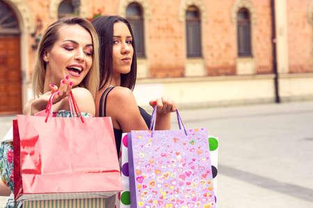 Shopping time - shopping, sale, Two young women in shopping