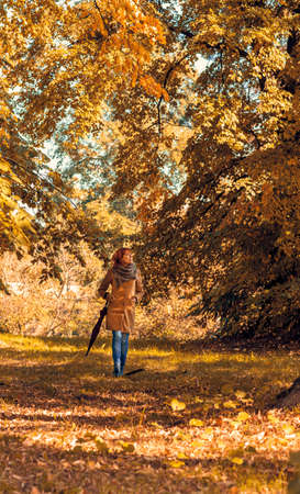 Smiling woman with umbrella walking in nature Stockfoto