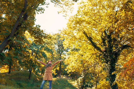 Young redhead woman at beautiful autumn forest Stockfoto