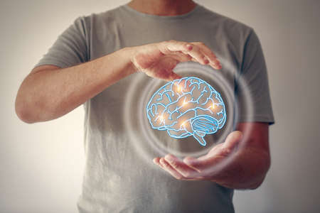 Use brain - lighting brain and brainstorming symbol concept
