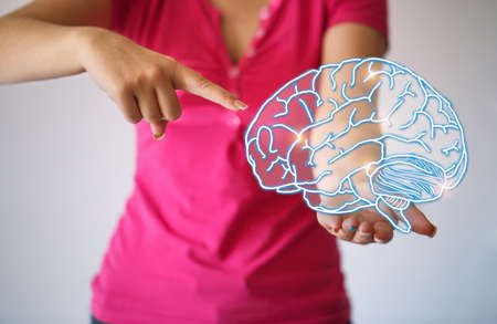 Use brain - Virtual reality woman with symbol neurons in brain. creative idea. Concept of idea and innovation virtual Stockfoto