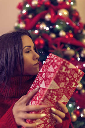 Beautiful young woman for Christmas.Happy girl with christmas present.