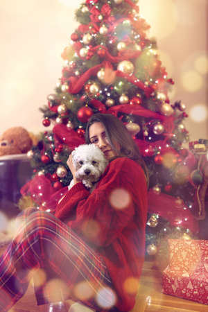 Happy young girl embracing cute puppy at Christmas holiday Standard-Bild