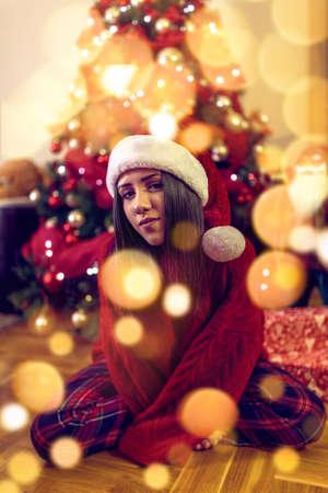 Happy Christmas! Happy girl having fun celebrating Christmas Standard-Bild