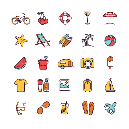 sun block: Vector summer thin line icons for your design Illustration