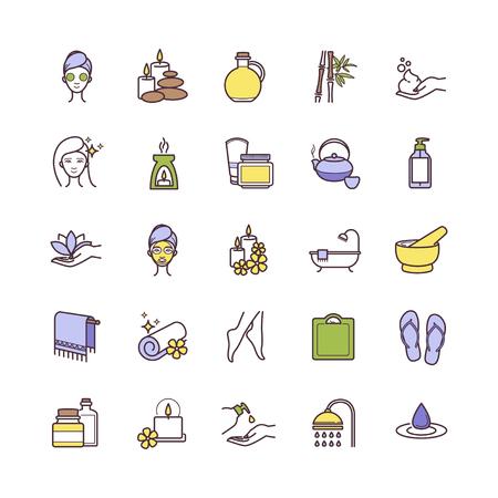 Vector de spa y de belleza iconos de líneas finas para web, poligrafía, etc.