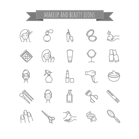 beauty make up: vector set of beauty, make up and cosmetics icons for your design