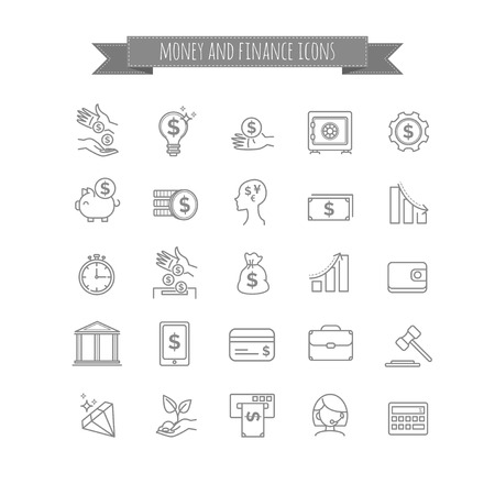 busines: vector busines, money and finance thin line icon set for your design Illustration