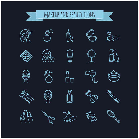 beauty make up: vector beauty, make up and cosmetics icons set on a black background for your design Illustration