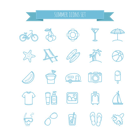 watermelon boat: summer vector  thin line icons set for your design Illustration