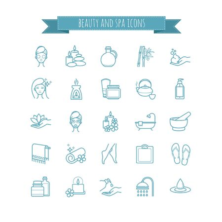 swimming candles: Spa and Beauty vector  thin line icon set for web, polygraphy, etc.