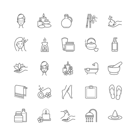swimming candles: Spa and Beauty thin line vector icons set for web, polygraphy, etc. Illustration