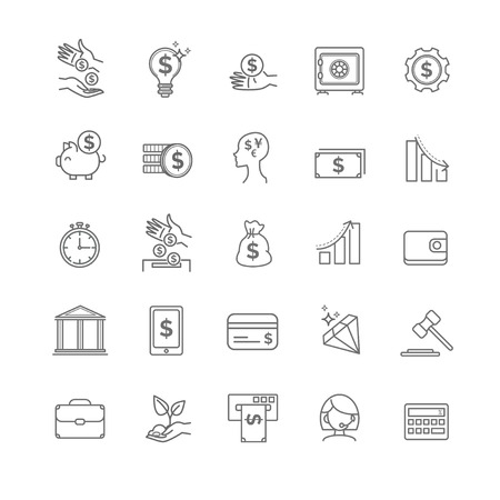 busines: busines, money and finance vector thin line icon set for your design