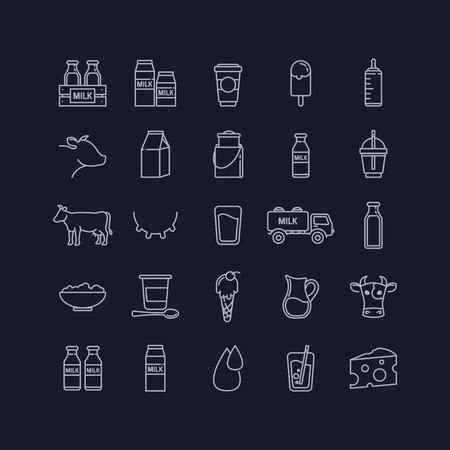 latte fresco: Vector sottile linea di set di latte, latticini e mucche su sfondo nero per la progettazione Vettoriali