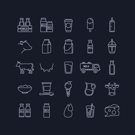 fresh milk: Vector thin line set of milk, dairy and cows on a black background for your design Illustration