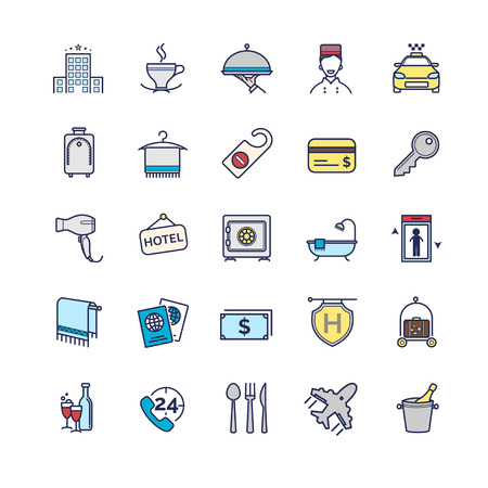 mini bar: hotel icons, vector thin line set for your design