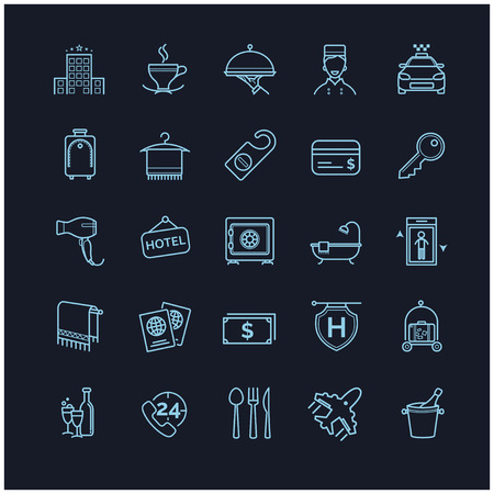 mini bar: hotel icons, vector thin line set on a black background for your design