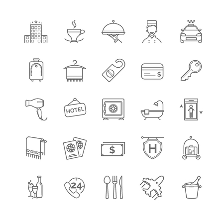 mini bar: hotel icons set, vector thin line for your design
