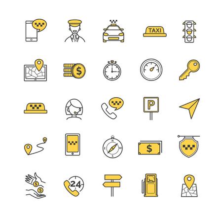 taxista: Taxi iconos conjunto de vectores para su diseño