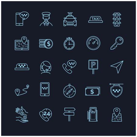 taxista: Taxi iconos del vector fijada en un fondo negro para su diseño