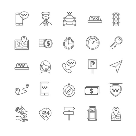 cabbie: Taxi icons set for your design Vectores