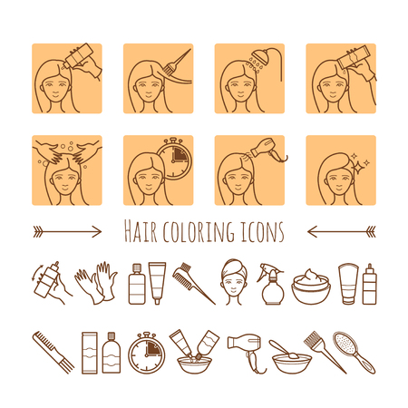hair color: Hair coloring process. Thin line icons for your design