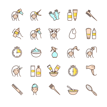 dyeing: Hair dyeing icons set for your design