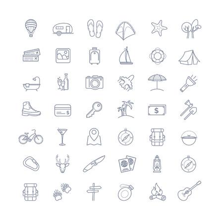 footprint sand: Travel icons set for your design Illustration
