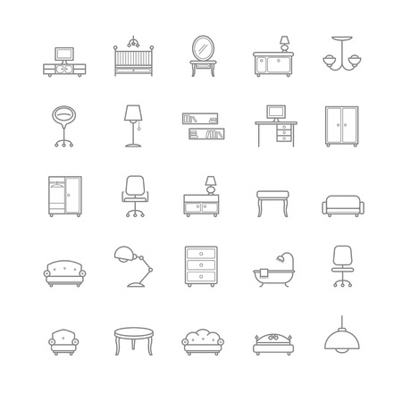 furniture icons set for your design Vetores