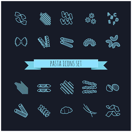 twists: set of various pasta icons for your design Illustration