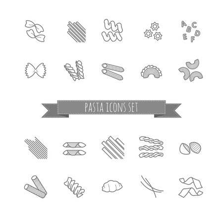 twists: set of various pasta shapes for your design
