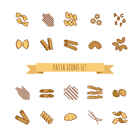 twists: icons set of various pasta shapes for your design