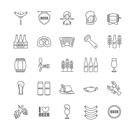 harmonic: Oktoberfest thin line icons for your design Illustration