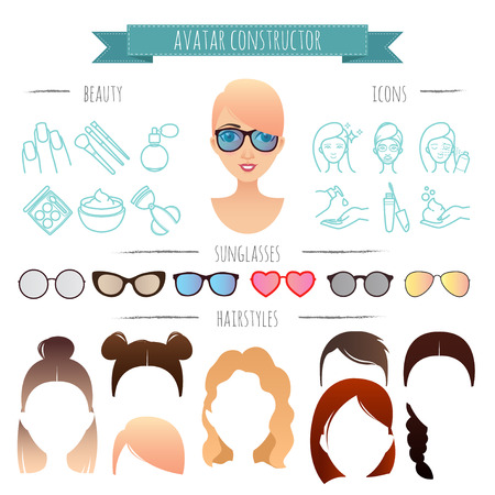 constructor: Avatar constructor. 7 hairstyles, 6 sunglasses, 12 beauty icons for your design