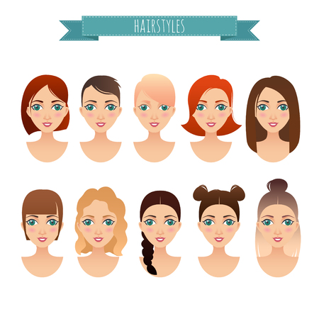 hairdress: set of cute girls with different hairstyles for your design