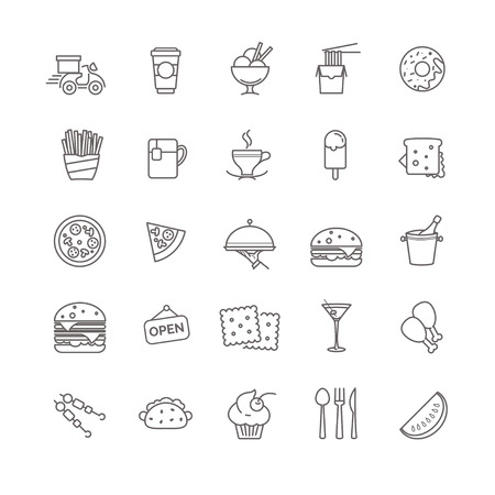 black coffee: fast food icons - stock set for your design