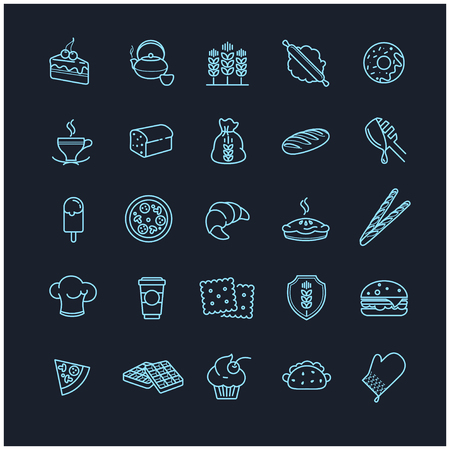 foodstuffs: bakery icons, vector food for your design
