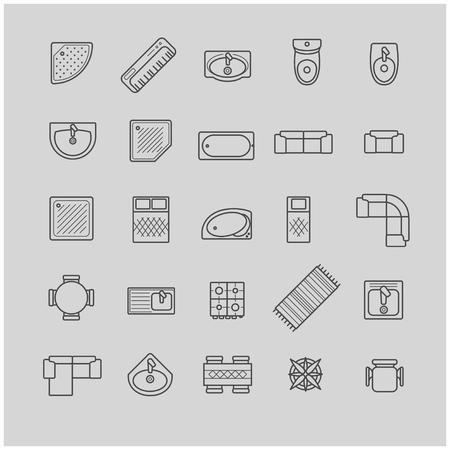 icone di mobili, vista dall'alto per il vostro disegno