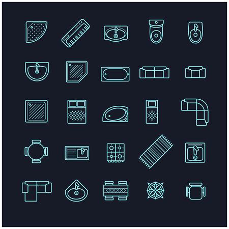 icone di mobili set, vista superiore per il vostro disegno